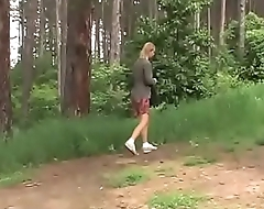 Violence in the woods for a young and hot blonde