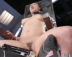 Babe in arms restrained to chair for pussy toying