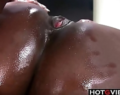 Big Booty Oiled Back Ebony Gets BBC Big Black Load of shit
