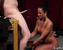 Hot honey gets jizz load not susceptible her face gulping all the load