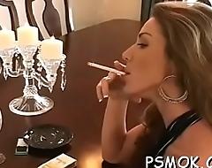 Enchanting playgirl smoking
