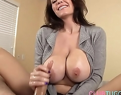 Busty MILF tugging cock and talking perverted