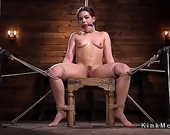 Hogtied babe with nylon on her face