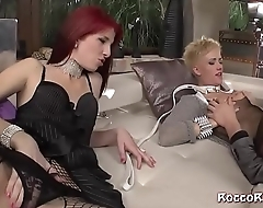 Blonde and redhead babes in anal 3some