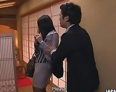 Japanese secretary is used wits her boss at the restaurant