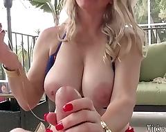 Busty Blonde MILF Vicky Vette Uses Sex Toy On Lucky Cock!