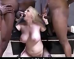 White Slutty wife is gangbanged by BBCs 10