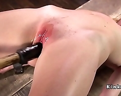 Blonde in bondage distended cunt toyed
