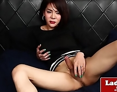 Busty asian tgirl at hand round takings solo play