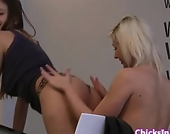 Euro lesbian babe pussylicked on dinner table