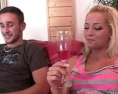 Bros blonde girlfriend sucks and rides my cock!