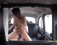 Crazy gal fucks tricky taxi driver