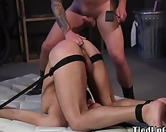Spanked BDSM sub tugged until cumshot