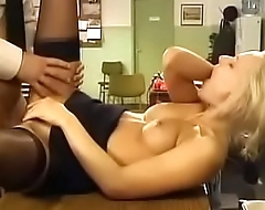 Blonde Police Woman Has Sex On Desk wold Stockings