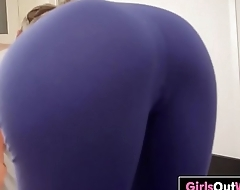 Hot yoga girl Carly toys her meaty pussy