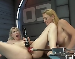 Pretty lesbian orgasms at near machine time
