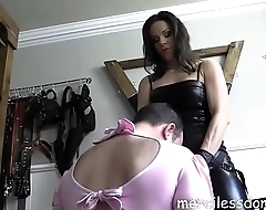 Lady G Humiliates Her Slave - Czech Queen makes slave on touching suck immense dildo