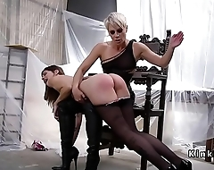 Lesbian slave spanked and anal fucked