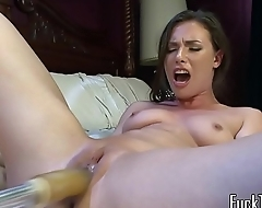 Busty amateur drilled by dildo contraption