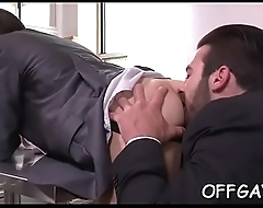 Hot office homosexual three-some