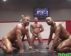 Naked jocks wrestling and masturbating