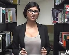 Arab playgirl masturbates in library