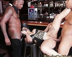 MILF waitress plowed by hard black cocks