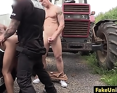 Ebony police babe spitroasted outdoors
