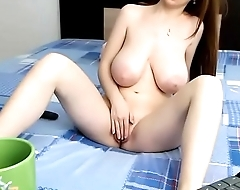 Super perfect boobs girl playing pussy