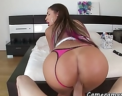 Perfect ass babe riding dick from behind POV