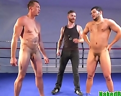 Athletic stud dicksucked after wrestling