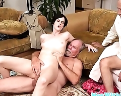 Teen babe rimmed and fingered by seniors
