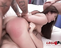 Busty slut Little Candy 1st time Gangbang rough 4on1 DP Fuck Session