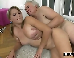 Sensual schoolgirl is seduced and rode by her aged mentor
