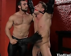 BDSM dom clamps subs balls and sucks his cock