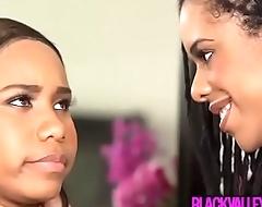 Ebony girlfriend wants more then a little mouthful of black teen bff